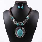 Chunky Turquoise Blue Pendant Wood Beaded Chain Necklace Tibet Necklace Earrings Set