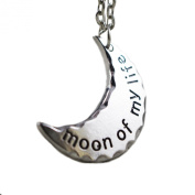 """TV Inspired GOT Daenery's Half Moon. """"Moon Of My Life"""" Antique Silver Plated Pendant Necklace"""
