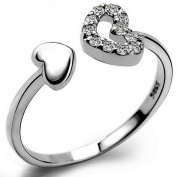 YAZILIND Jewellery Simple Design Silver Plated Crystal Heart Striking Adjustable Ring Women