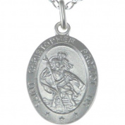 "Oval Sterling Silver St Christopher Pendant with 18"" Chain - 28mm x 15mm"