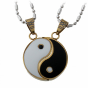 Lovers Couple Yin and Yang Pendant Set, Stainless Steel Necklace