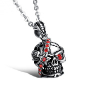 Stayoung Jewellery Punk Style Gothic Rockstar, Biker Cerebral Skull Stainless Steel Charm Necklace/Pendant/Chain for Men, Colour Silver