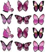 PRE-CUT LARGE PINK BUTTERFLY EDIBLE RICE / WAFER PAPER CUP CAKE TOPPERS BIRTHDAY PARTY WEDDING DECORATION B19