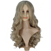 Angelaicos Women Long Wavy Curly Dark Blonde Halloween Cosplay Show Costume Party Synthetic Hair Full Wigs