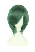 Playcosland Ladies and Women Fancy Anime Cosplay Short Hair Dark Green