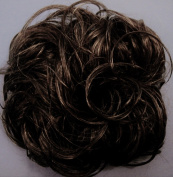 KATIE 18cm Pony Fastener Hair Scrunchie 34 Dark Brown with 10% Grey