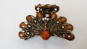 Gorgeous Vintage Jewellery Crystal Rhinestone Peacock Design Fashion Hair Claw Clips Hair Jaws Hair Jaw Clips - Large Size - Brown Colour -For Thick Hair Beauty Tools
