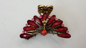 Gorgeous Vintage Jewellery Crystal Rhinestone Peacock Design Fashion Hair Claw Clips Hair Jaws Hair Jaw Clips - Large Size - Ruby Colour -For Thick Hair Beauty Tools