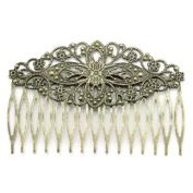 New Fashion 10pcs Hair Clips Comb Shape Hollow Bronze Tone 8.1cmx5.5cm