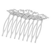 Hair Jewellery 10pcs Hair Clips Barrettes Comb Hollow Pattern Silver Tone 57x46mm