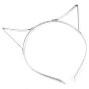 5PCs Silver Tone Cat Ears Headbands Hair Band 37cm long