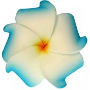 Foam Flower Small Hair Clip Plumeria Blue & White