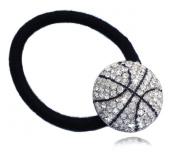 Clear Crystal Basketball Sports Ball Charm Ponytail Holder