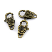 Qty:10 Jewellery Clasps Findings Supplies Craft Ancient Repair Lots DIY Antique Pendant Vintage Z71142 Flower Lobster Clasp