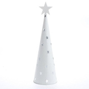 Sparkling White Glistening Cone Christmas Tree with Folk Star Cutouts for Holiday and Everyday Decor