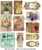 Victorian Vintage Perfume Labels Collage Sheet 102