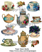 Victorian Teapot and Teacups with Flowers Collage Sheet