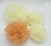 Worldoor® 12PCS Mixed Sizes Peach Ivory Tissue Paper Flower Pom Poms Pompoms Wedding Birthday Party Nursery Decoration