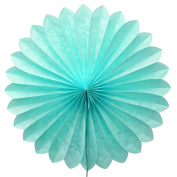 SUNBEAUTY Sky Blue 5pcs 36cm Handcraft Tissue Paper Fan Party Wedding Birthday Showers Decorations