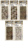 Tim Holtz - Early 2015 Release - Stencils Set 2 - Scribbles, Splotches, Bricked, Crackle & Typo - 5 Item Bundle