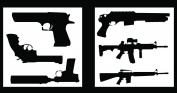 Auto Vynamics - STENCIL-GUNSET01-20 - Detailed Hand Guns & Rifles Stencil Set - Includes Pistols & Long Guns! - 50cm by 50cm Sheets - (2) Piece Kit - Pair of Sheets