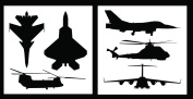 Auto Vynamics - STENCIL-MILAIRSET01-20 - Detailed Military Aircraft Stencil Set - Includes Fighter Jets & Helicopters! - 50cm by 50cm Sheets - (2) Piece Kit - Pair of Sheets