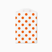 25 Orange Polka Dot Little Bitty Bags 7cm X 10cm