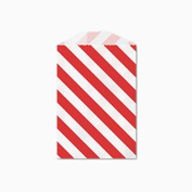25 Red and White Diagonal Stripe Little Bitty Bags 7cm X 10cm