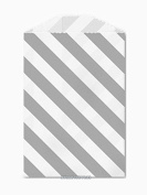 25 Grey and White Diagonal Stripe Little Bitty Bags 7cm X 10cm