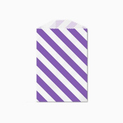 25 Purple and White Diagonal Stripe Little Bitty Bags 7cm X 10cm