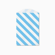 25 Blue and White Diagonal Stripe Little Bitty Bags 7cm X 10cm