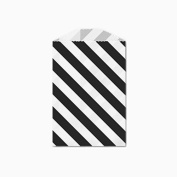 25 Black and White Diagonal Stripe Little Bitty Bags 7cm X 10cm