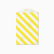 25 Yellow and White Diagonal Stripe Little Bitty Bags 7cm X 10cm