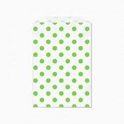 25 Green Polka Dots on White Middy Bitty Flat Paper Bags 13cm X 19cm