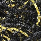 Black Crinkle Cut Paper Metallic Mix - 0.2kg Black and Gold Gift Basket Filling Christmas Shredded Paper