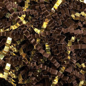 Brown Crinkle Cut Paper Metallic Mix - 0.2kg Brown and Gold Gift Basket Filling Christmas Shredded Paper