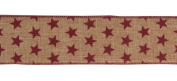 Brown with Red Stars 6.4cm X 10yds Fancy Wired Ribbon Gift Wrap