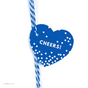 Andaz Press Heart Gift Tags, Modern Style, Cheers!, Royal Blue, 30-Pack