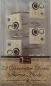 Square with Circles Design - 12 Decorative Resin Shower Curtain Hook Set