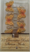 Yellow and Black Butterfly Design - 12 Decorative Resin Shower Curtain Hook Set