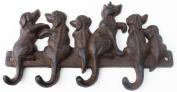 Decorative Wall Hooks Dogs 4 Hooks Cast Iron