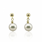 8.5-9.0mm Cultured Akoya Pearl Drop Earrings with 14K Yellow Gold