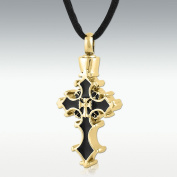Perfect Memorials Devotion Cross Gold Stainless Steel Cremation Jewellery