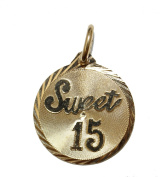 Sweet Fifteen Medal 18k Gold Plated Medalla Enchapada Pendant with Chain - Quince Pendant