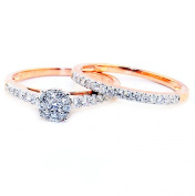 0.5ct Diamond 10K Rose Gold Bridal Set Engagement Ring and Matching Band