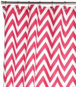 Kassatex Fine Linens Chevron-Pink Berry Shower Curtain, Pinkberry and White