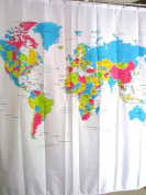 Efivs Arts New Arrival Worldmap Design Waterproof Anti-mildew Shower Curtain with Hooks 180cm by 180cm
