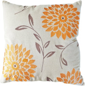 Decorative chrysanthemum Flower Embroidery Floral Throw Pillow COVER 46cm Orange