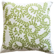 Green Vine Embroidery Decorative Throw Pillow COVER 46cm Green White