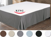 Utopia Bedding Cotton Sateen Bed-Skirt (King, Grey) - 100% Finest Quality Long Staple Fibre - Durable, Comfortable and Abrasion Resistant, Quadruple Pleated, Cotton Blended Platform